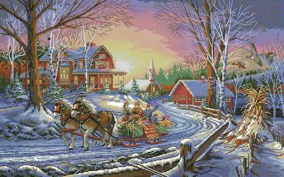 Вышивка крестом Зимний пейзаж