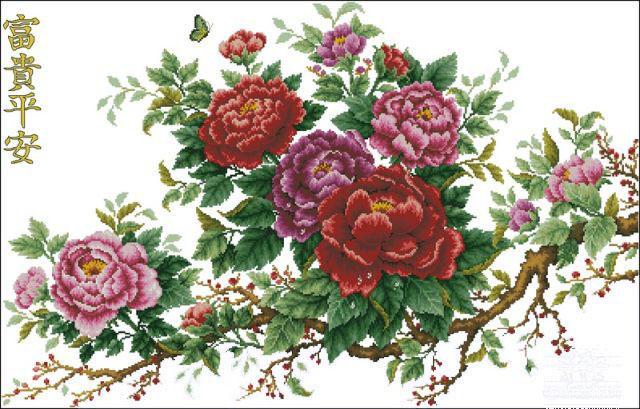 """Схемы вышивки крестиком """"Розы"""